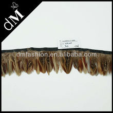 2014 neck hackle feather trim with satin ribbon tape YTR0017