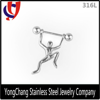 Cheap wholesale 316l stainless steel custom made fake human nipple ring