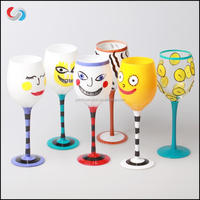 Hand Painted Custom Logo Drawing Long Stem Wine Glass Long Stem Hand Painted Wine Glass Pattern
