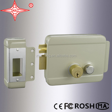 Electric Rim Door Lock, Gray Spray, Suitable for Intercom System, Brass Cylinder