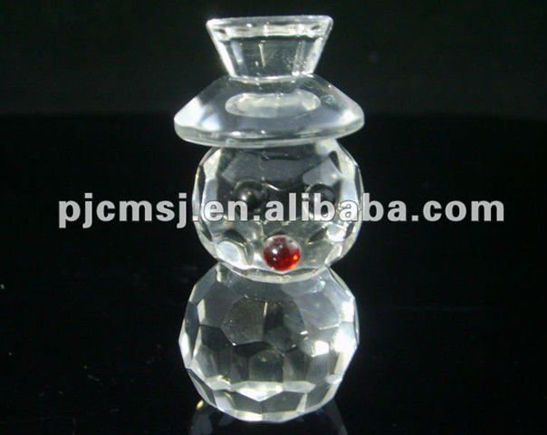 Clear Crystal Snowman Figurines For Desk Decorations