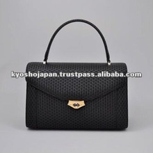 lady bag hand bag japan scarcity gergeousness deer skin kimono handmade high level black handbag
