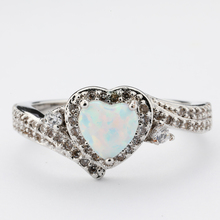 Heart shape egyptian engagement designs sterling silver cz opal ring