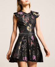 Guangzhou factory clothing apparel OEM v neck cut out tailored bodice floral design BLACK JACQUARD MINI DRESS