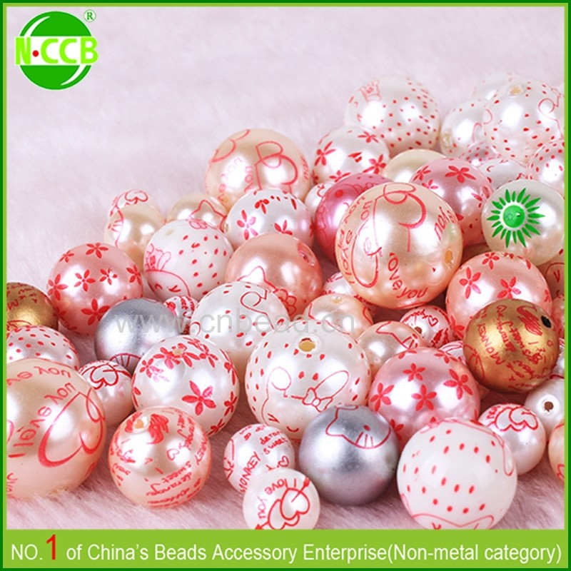 High quality custom printed round bead and pearls for sale