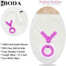 Wholesale Safe Baby Silicone Teething Necklace For Baby Teething