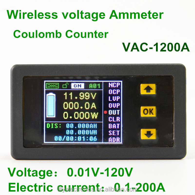VAC1200A 120V 200A Wireless LCD Display Digital Voltmeter Ammeter Power Monitor voltage Tester Current Meter