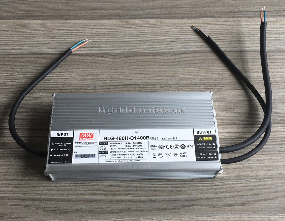 HLG-480H-C1400B, 480W Original Meanwell Dimmable LED Driver