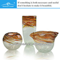 mordern clear and orange color crackle cylinder round cheap tall flower vase for wedding