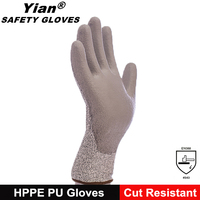 Hppe liner pu coated cut resistant gloves, pu glove