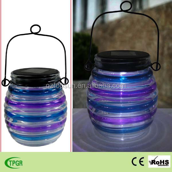 Glass hanging solar led lanterns for garden decor