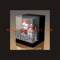 clear acrylic cigarette display stand,packing box with logo