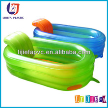 Inflatable foot bath, transparent pvc inflatable baby bath basin with backrest