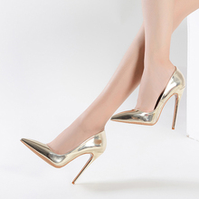 Best quality ladies golden elegant pu high heels shoes women 2017