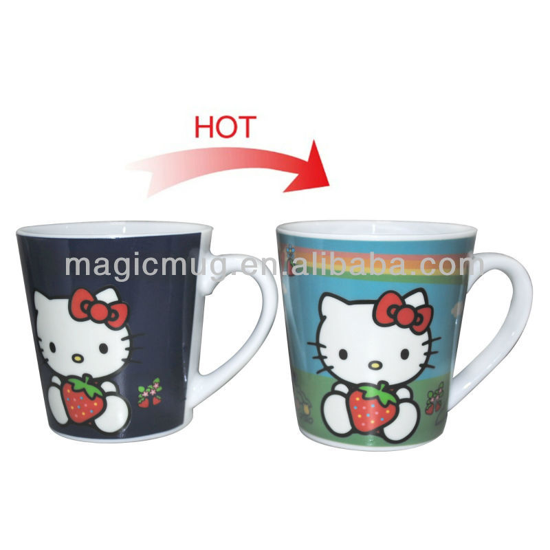 Color Changing Cartoon Character Mugs For Hello Kitty