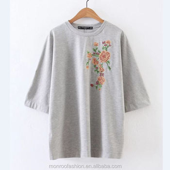 monroo New Fashion Flower Embroidery Knitting Long Sleeved T-Shirt Women Slim Loose Short Sleeve T-shirt Pullover Clothing T001