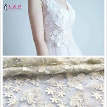 New arrival flower pattern 3D tulle lace fabric
