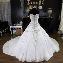 First class heavy beading ball gowm nice characteristics big train tail wedding dress with 1.5 meters tail