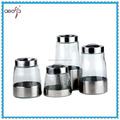 fashional metal skin kitchenware glass condiment jar set with metal lids