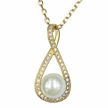 designs zircon chain freshwater charm pearl necklace pendant designs