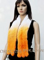 CX-S-68F Bright Color Tie Dye Knitted Genuine Rex Rabbit Fur scarf Scarve And Stole