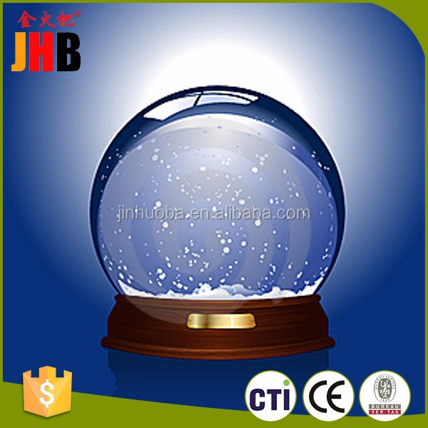 Cheap empty snow globe/custom kinds of resin snow globe with snow inside the spherical glass manufacturers