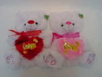 "28cm beautiful customized white unstuffed plush teddy bear toy shell with red silk bowtie&heart ""LOVE"" embroidered toes"