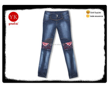 Femal fashion style jeans embroidery design,ladies high waist biker skinny jeans wholesale price manufacturer