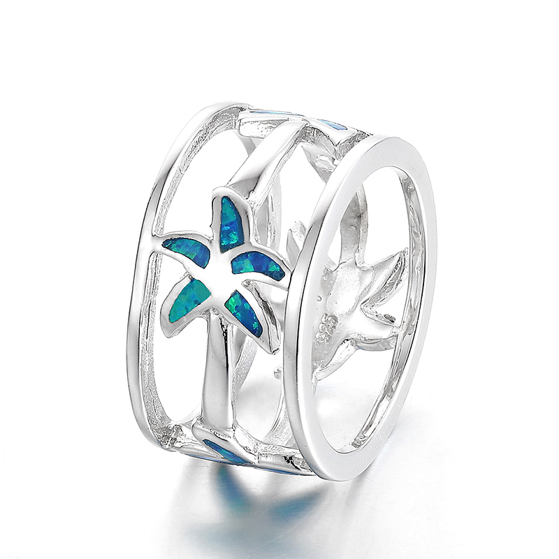925 Sterling Silver Star Blue Opal Infinity Latest Ring Designs For Girls Design SRI164W