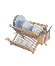 ODM kitchen cabinet organizer olive wooden bamboo folding timber dish rack