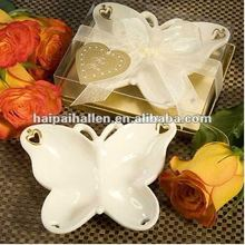 ceramic plate with butterfly design for wedding favors