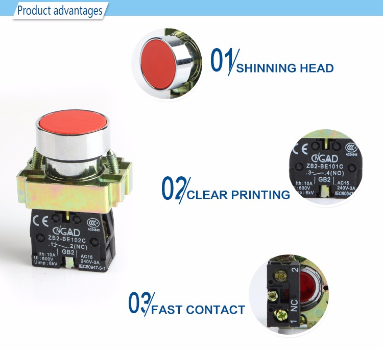 XB2-BA42 CNGAD red XB2 momentary flush push button switch