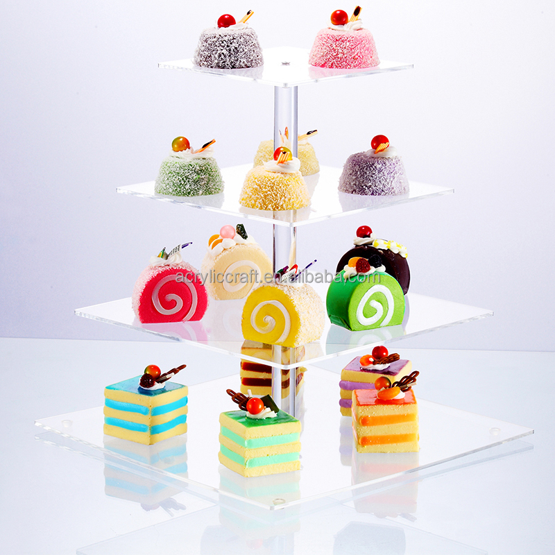 Hot selling 4 Tier clear acrylic wedding cake stand wholesale custom cupcake stand acrylic