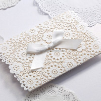 Lace muslim Wedding Invitations Elegant Embossed White Ribbon event party supplies Wedding Invitation Cards cw5059