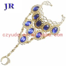 Tribal stylish diamond belly dance bracelet hand chain jewelry P-9001#