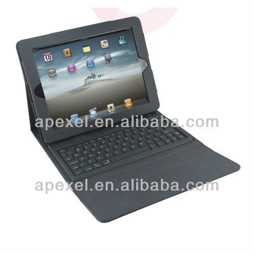 Bluetooth keyboard for ipad,high quality leather case built-in bluetooth silicon keyboard for ipad 4 & ipad 3 & 2 BK-21