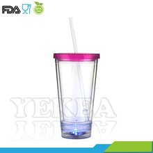Christmas' gift ,double Wall insulated LED cup with lid and straw, fashionable and colorful
