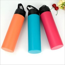 Creative Collapsible Silicone Water Bottle Foldable Roll up Cup 600mL Leak Proof Canteen Camping Folding kettle Outdoor <strong>Sports</strong>