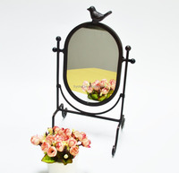 Europe Vintage Style Bird Makeup Cosmetic Mirror, Tabletop Standing Mirrors F0132
