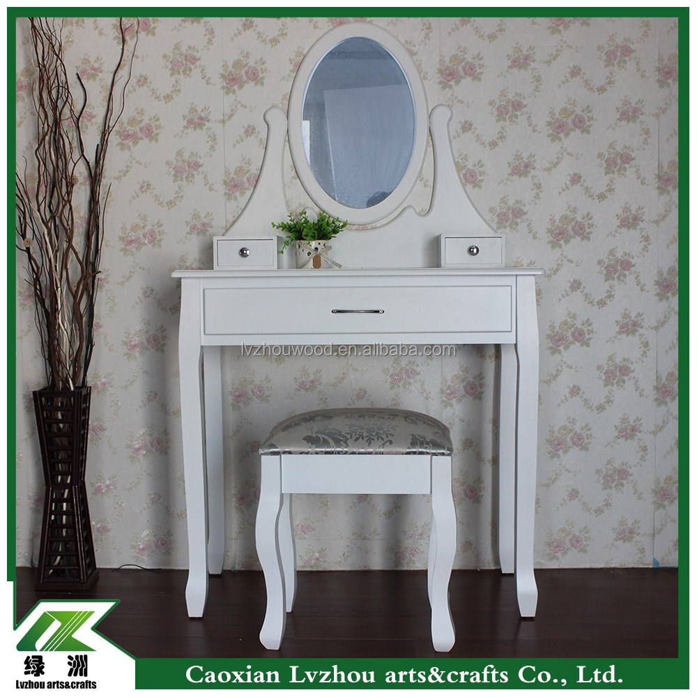 girls style bedroom furniture white wood dresser with mirror and stool