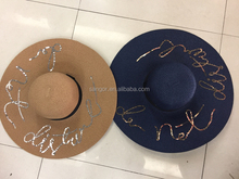 Wide Brim Paper Straw Sequin Embroidery Letters Beach Hats