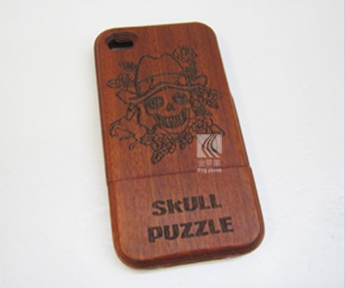 for Iphone4 Carving Skull Sapele Wooden Case,wooden christmas case