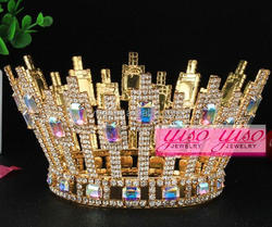 AB clear golden silver costume fashion crystal tiara crowns