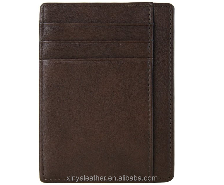 RFID Blocking Men's Leather Minimalist Money Wallet <strong>Card</strong> Holder
