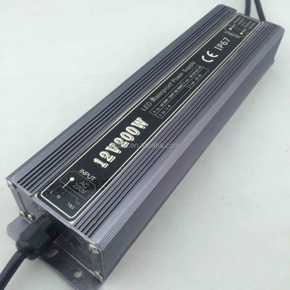 200W constant voltage 5V 12V 24V ac to dc led waterproof IP67 power supply for led