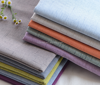 plain dyed 55% linen 45% cotton blend fabric for cloth upholstery