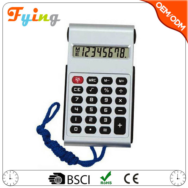 mini calculator with lanyard 8 digit electronic promotional necklace calculator
