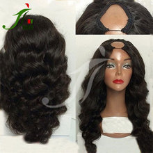 Free shipping remy indian human hair natural color upart wig body wave 8A good quality u part wig