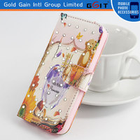 Diamond Back Case Flip Cover For Samsung S5 i9600, Funda Con Card Holder and Diamond For Galaxy S5 i9600