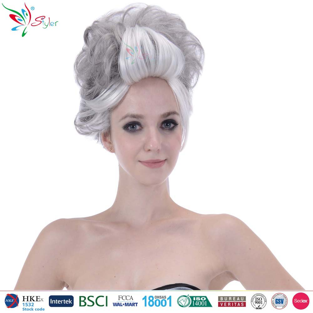 Styler Brand supplier hot sale short curly grey synthetic old lady wig